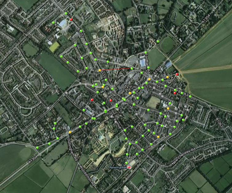 Newmarket test area with 106 ZONESCAN ALPHA points